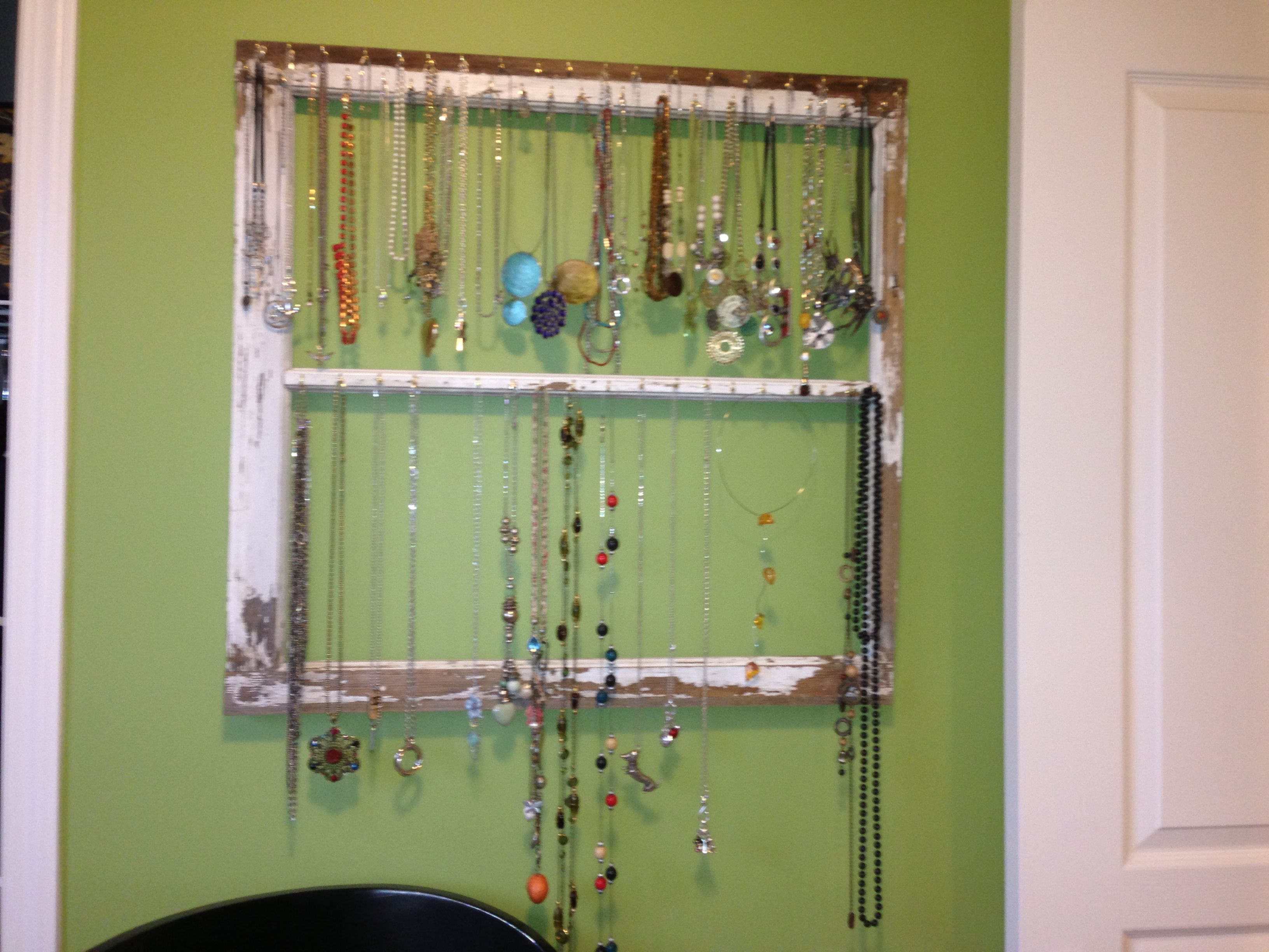 Necklace Display From Barn Window Frame