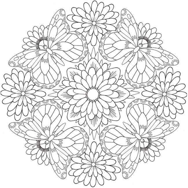 Flower Mandala Coloring Pages Butterfly Coloring Page Mandala