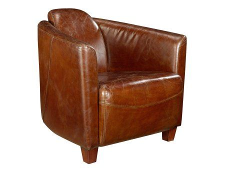 Brown Leather Bucket Chair Distressed Leather Armchair