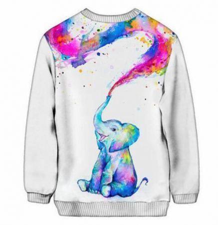 3e246ca552d9 3D watercolor elephant sweatshirt for men white pullover xxxl   plus ...