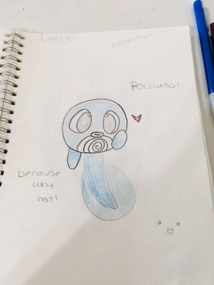 Dessin de Red Panda J'ai dessiné Poliwag !!! Jour 11 du défi de personnage de 30 jours. - # tiré #panda #poliwag #tagigen