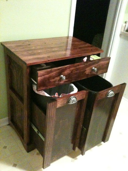 trash and recycling cabinet combo kitchen trash can cabinet diy cabinets kitchen storage. Black Bedroom Furniture Sets. Home Design Ideas