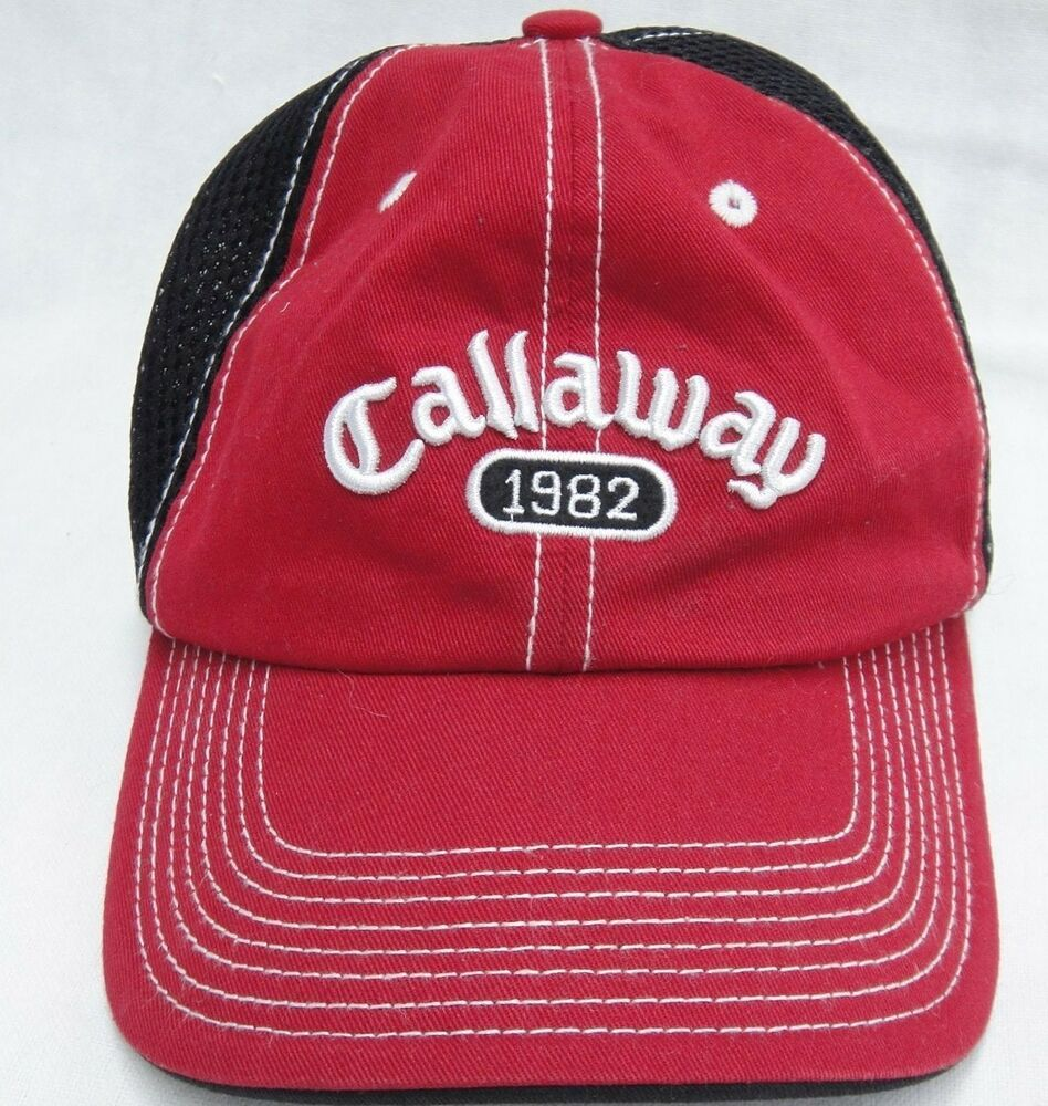 Callaway golf mens hat red and black mesh one size velcro