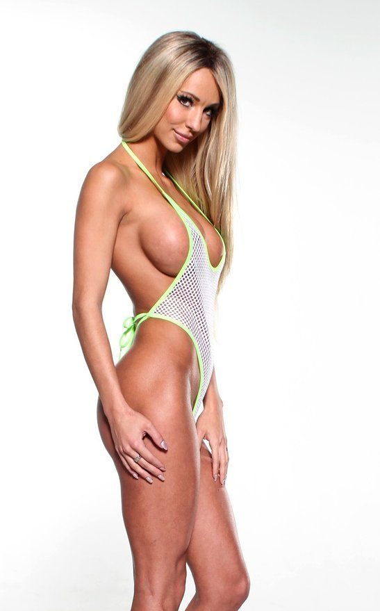 5ad96ec90db Solid White Mesh Sexy Monokini One Piece Micro GString Thong w/ Neon Green  Sheer at Amazon Women's Clothing store: