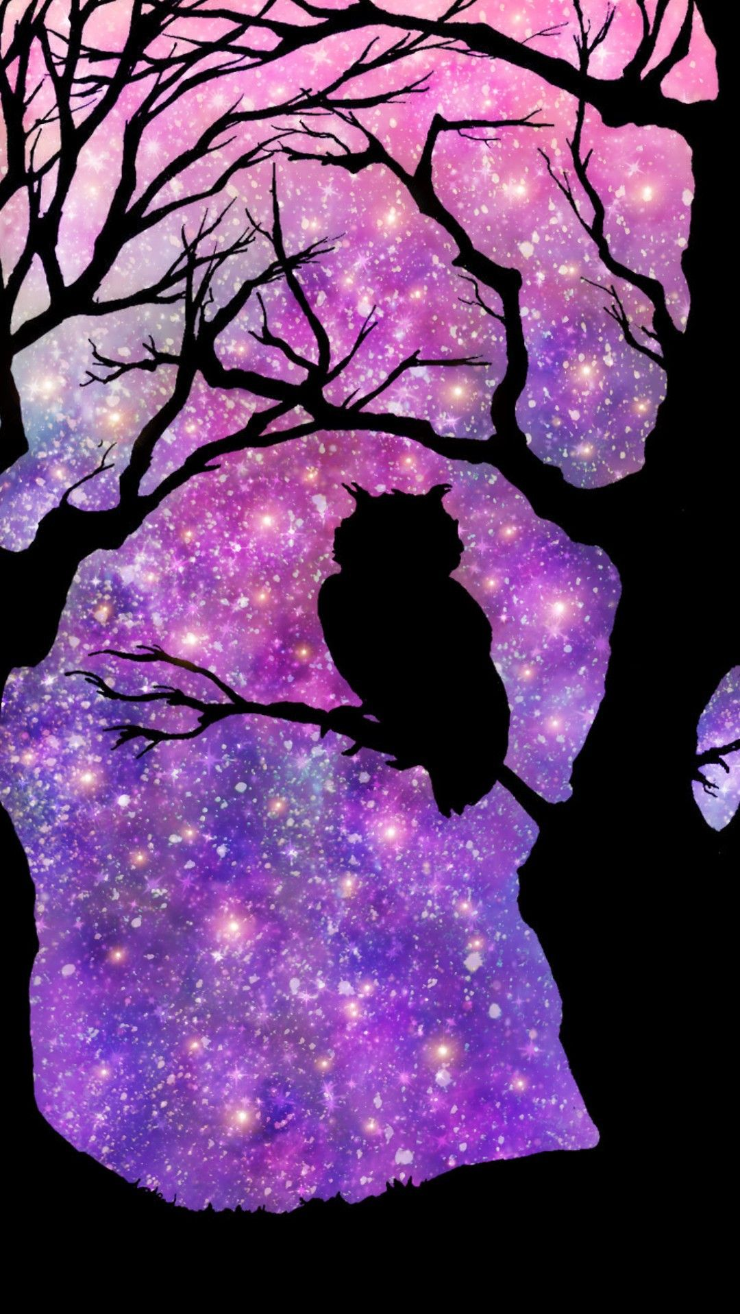 Galaxy Night Sky Owl Made By Me Purple Sparkly Wallpapers Backgrounds Sparkles Glittery Art Night S Owl Wallpaper Owl Wallpaper Iphone Owl Background
