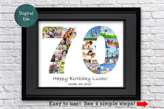 70th Birthday Gift For Mom Photo Collage Grandma Personalized Grandmo