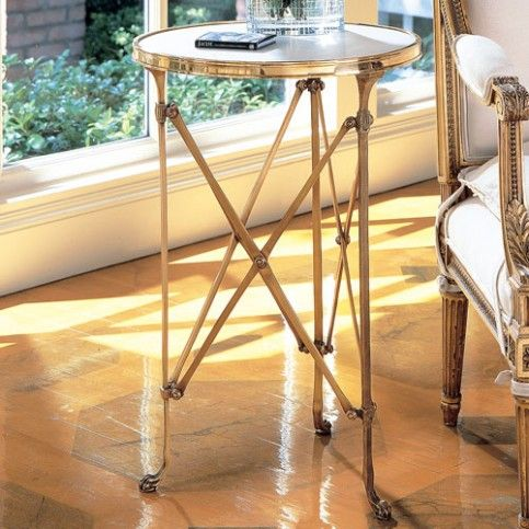 THE WELL APPOINTED HOUSE - Luxury Home Decor- Brass and White Marble Directoire Table - End Tables & Sofa Tables - Furniture #Furniture #interiordesign #redecorating #decorate #homedecor