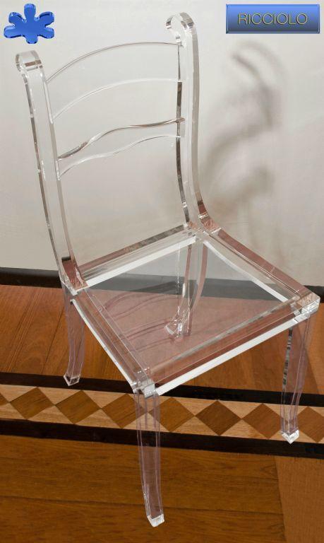 SEDIE IN PLEXIGLAS | 05. Sedia In Plexiglass Mod. RICCIOLO Con Seduta  Trasparente | Sedie Plexiu2026 | Acrylic Chairs / Sedie In Plexiglass  Trasparente | Pinteu2026