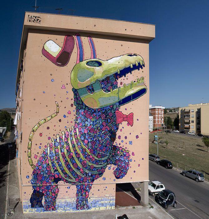 Street art by Aryz.