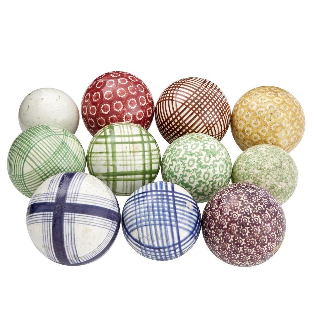 Miscellaneous Group Of Eleven Ceramic Carpet Balls Carpet Bowls Carpet Indoor Carpet
