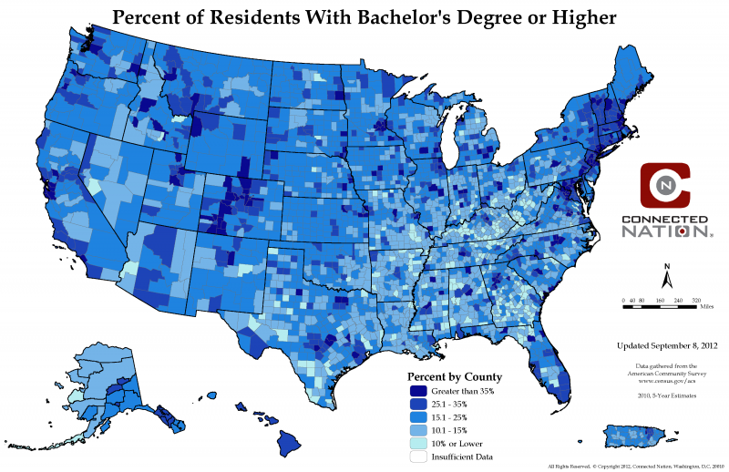Percent Of People With Bachelor S Degree Or Higher By Us County Data Map Degree Holder Map