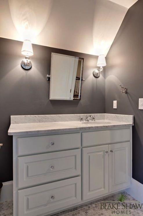 Beautiful Bathroom With White Raised Panel Bathroom Vanity
