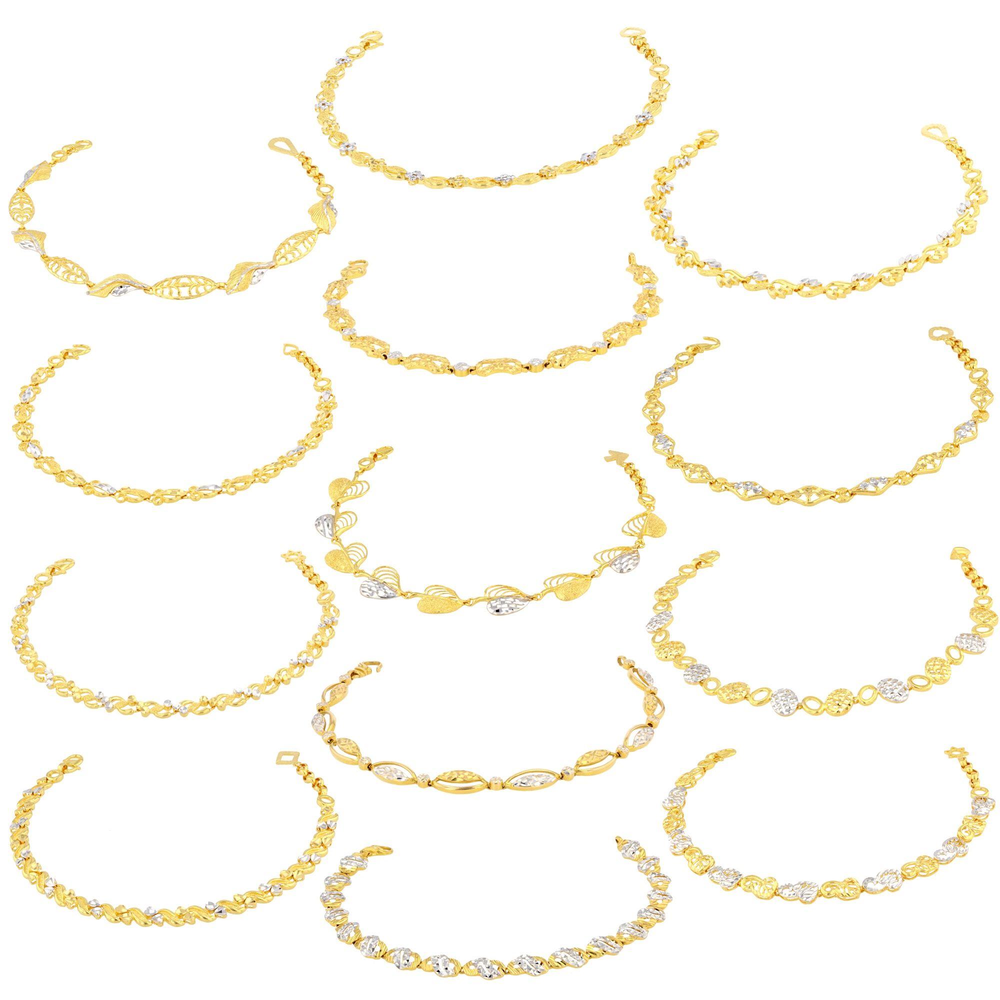 68ceb4f87fefa Ladies Bracelets made of 22ct Yellow Gold & Rhodium (bundle of 13 ...