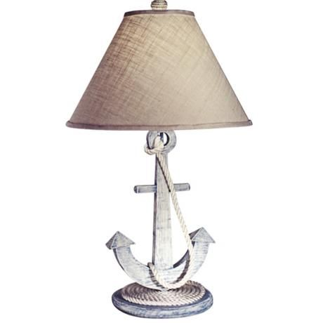 weathered anchor nautical table lamp love for rileys room but need a cheap copy. Black Bedroom Furniture Sets. Home Design Ideas