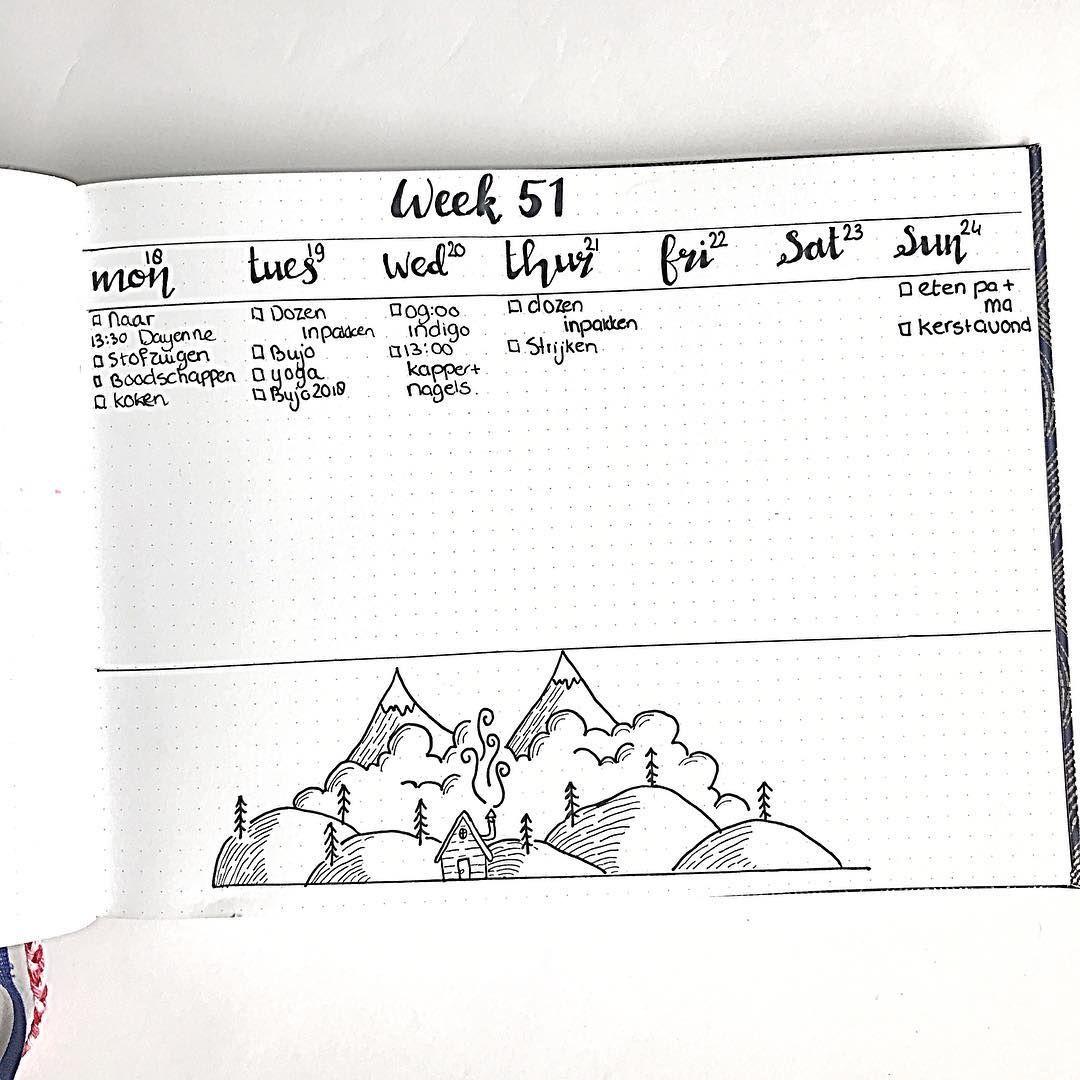 Bullet journal weekly layout, open bullet journal layout, mountain