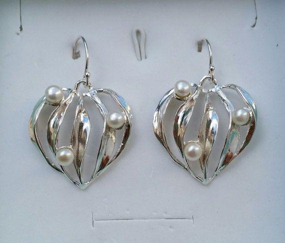 Pearl Silver Dangle Earrings Sterling Silver Dangle by TalyaDesign