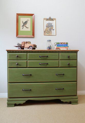 Olive green maple dresser with stained top