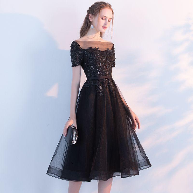 Aliexpress.com   Buy SSYFashion New The Banquet Elegant Little Black Dress  Bride Lace Appliques 55fa19191c1b