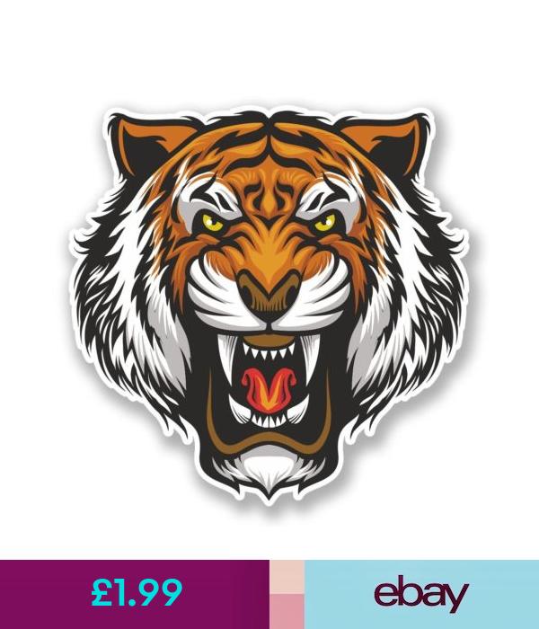 2 X Angry Tiger Vinyl Sticker Laptop Travel Luggage Car 6679 Lion Cat Angry Tiger Vinyl Stickers Laptop