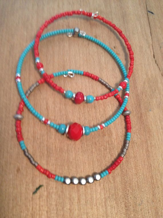 Beaded bangles Set of 4 stackable friendship bracelets, genuine red coral, turquoise magnesite, pyrite beads, metal beads, boho gift for mom