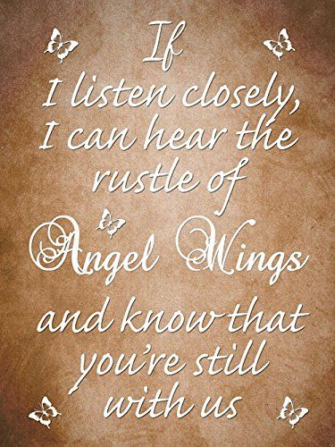 ANGEL PICTURE 'IF I LISTEN CLOSELY... QUOTE WALL CANVAS A