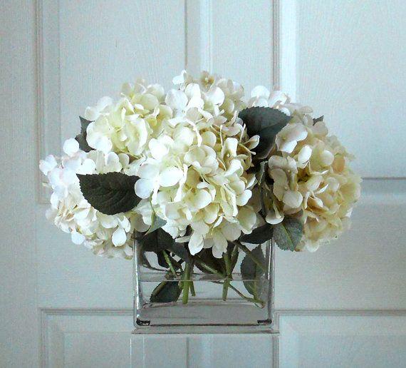 Large Silk White Cream Hydrangea Arrangement Flower Arrangement Silk Flowers Whi Flower Vase Arrangements Hydrangea Arrangements Silk Hydrangeas Arrangements