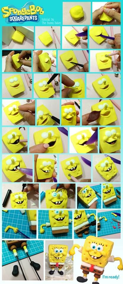 Sponge Bob Square Pants Fondant Tutorial - Could be adapted for polymer clay