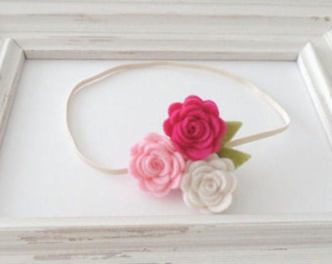 Rose Flower Baby Headband, Rustic Wedding Hairpiece, Laband de encaje, Ivory Champagne Blush Gold Headband, Felt Headband, Flower Girl Headband