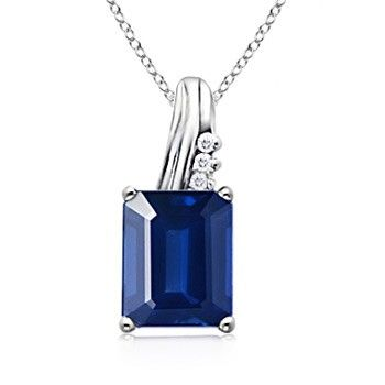 Angara Emerald-Cut Emerald and Diamond Halo Necklace in Platinum 2w2HeS7hyh