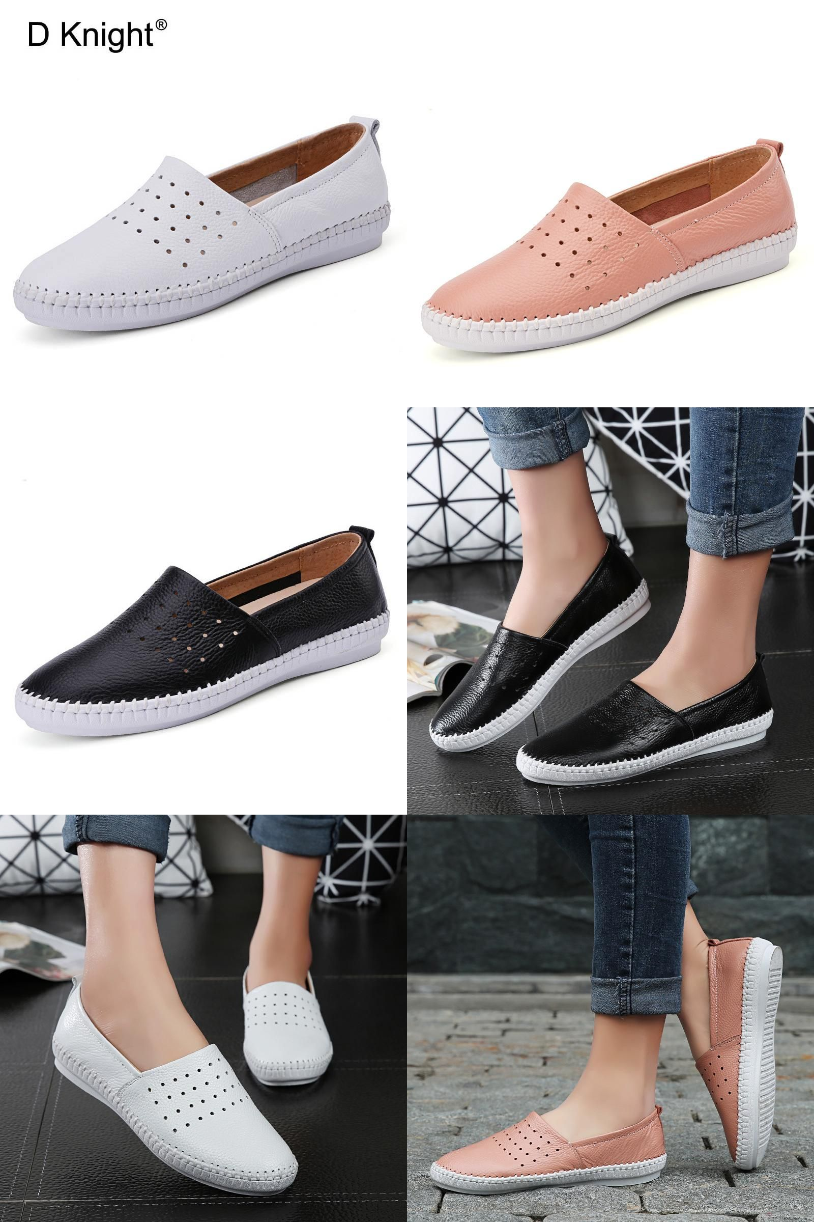 Visit To Buy Ladies Genuine Leather Casual Flat Shoes Woman Spring Summer Loafers Slip On Flats Breatha Flat Shoes Women Women Shoes Casual Shoes Women Flats [ 2400 x 1600 Pixel ]