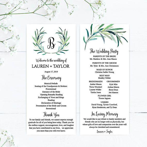 printable wedding programs download wedding program layout design