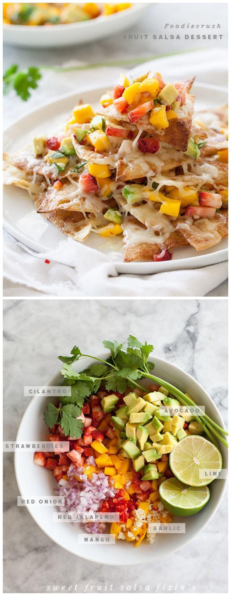 Dessert #Nachos with Strawberry, #Mango and #Avocado Salsa by foodiecrush. #dessert #recipe
