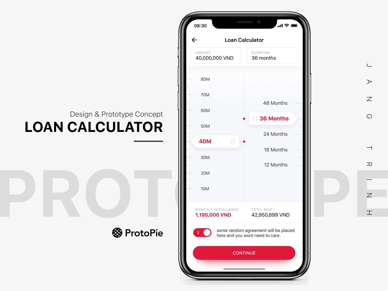 Loans Calculator Concept Protopie Link Included Calculator