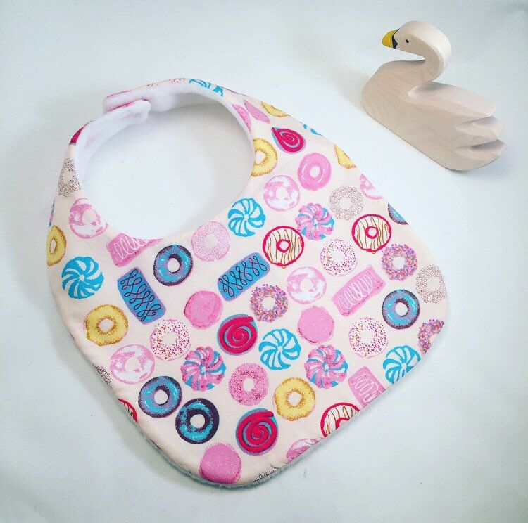 Baby girls bib pink donut and biscuit design baby bibs handmade baby girls bib pink donut and biscuit design baby bibs handmade baby gifts easter gift baby handmade negle Gallery