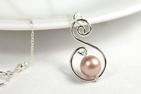Beige Pearl Necklace Wire Wrapped Jewelry by JessicaLuuJewelry, $30.00