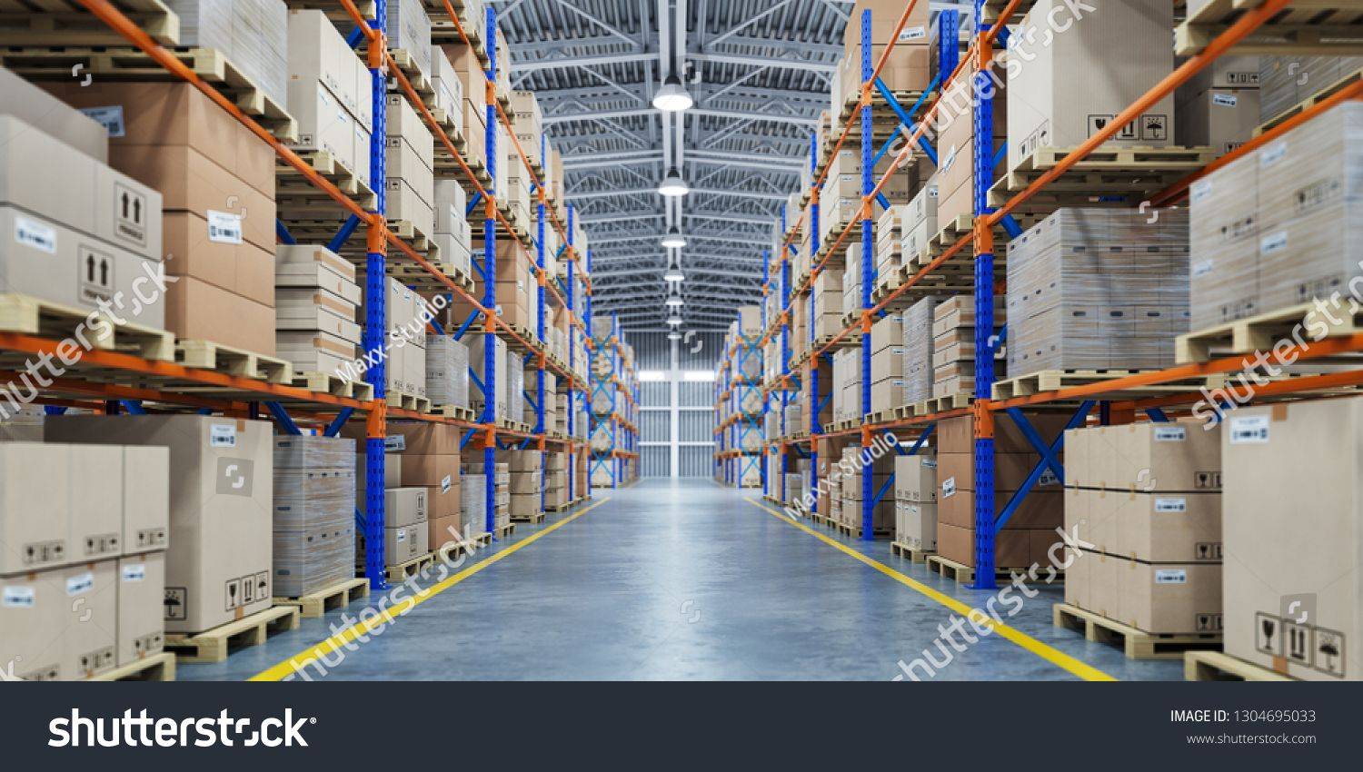 Warehouse Or Storage And Shelves With Cardboard Boxes Industrial