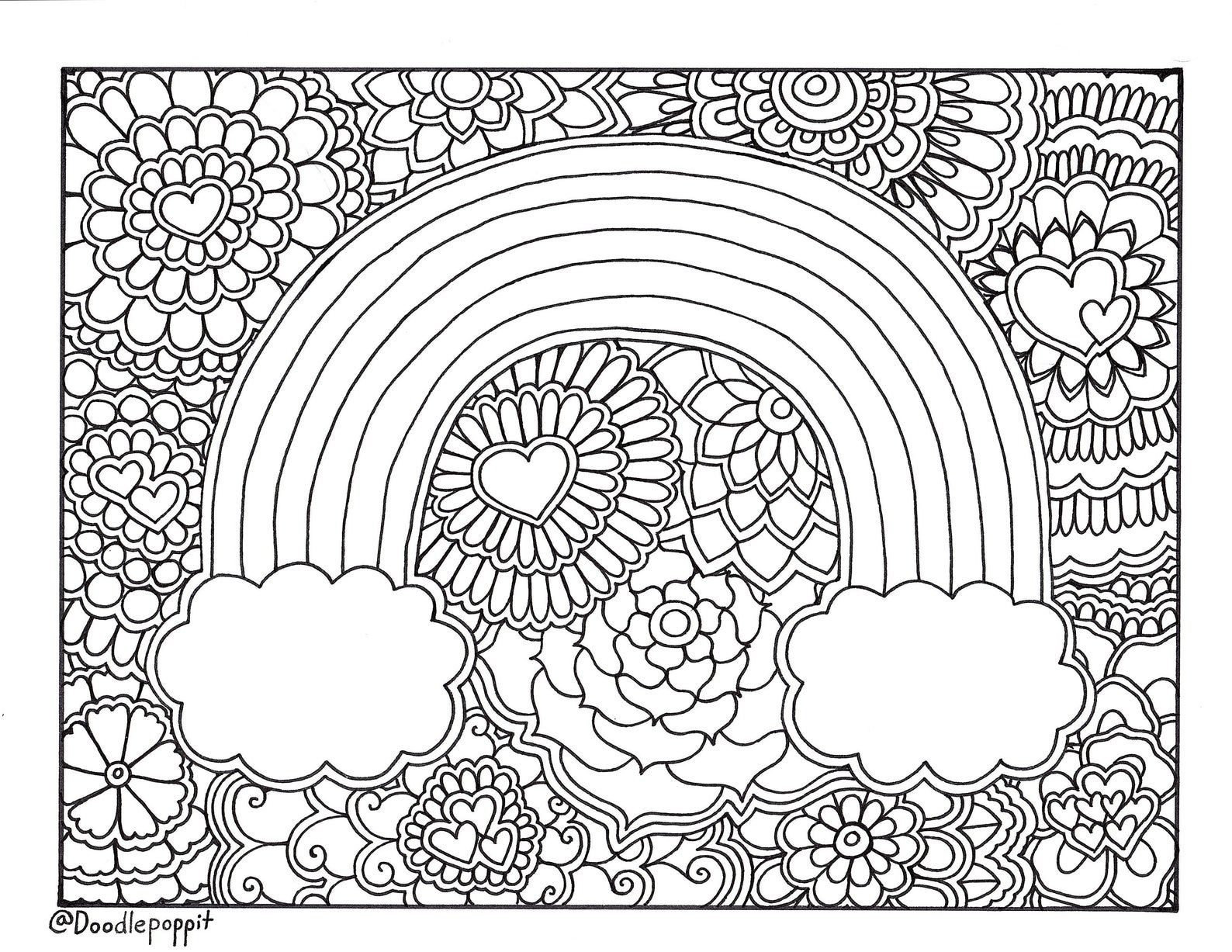 Rainbow Pride Coloring Page Coloring Book Page Printable Etsy In 2020 Abstract Coloring Pages Unicorn Coloring Pages Coloring Book Pages