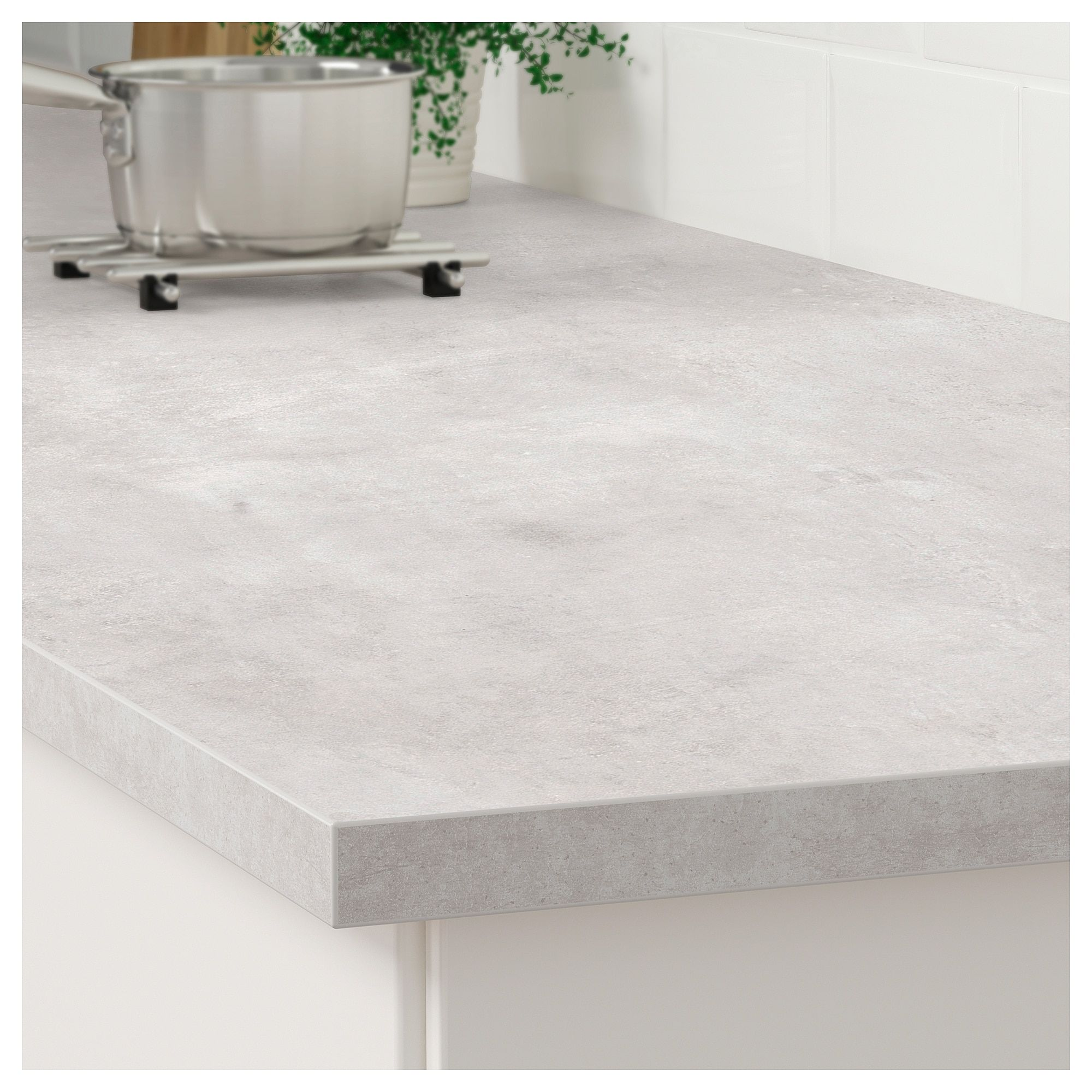 Ekbacken Countertop Light Gray Concrete Effect Laminate 98x1 1