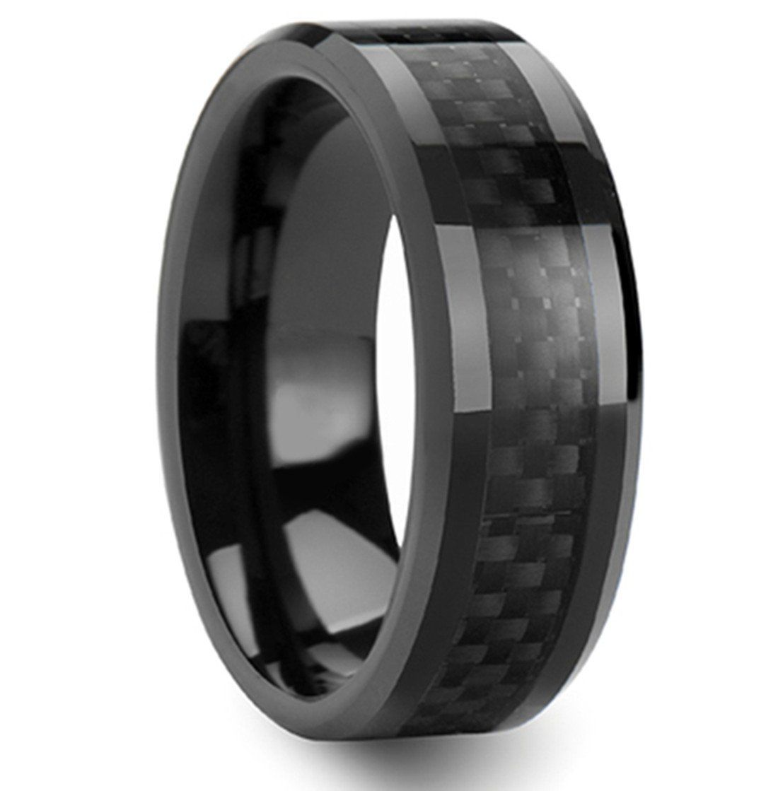 onyx wedding band King Will 8mm Black Tungsten Ring Polished Finish Carbon Fiber Inlay Beveled Edges Wedding Band For