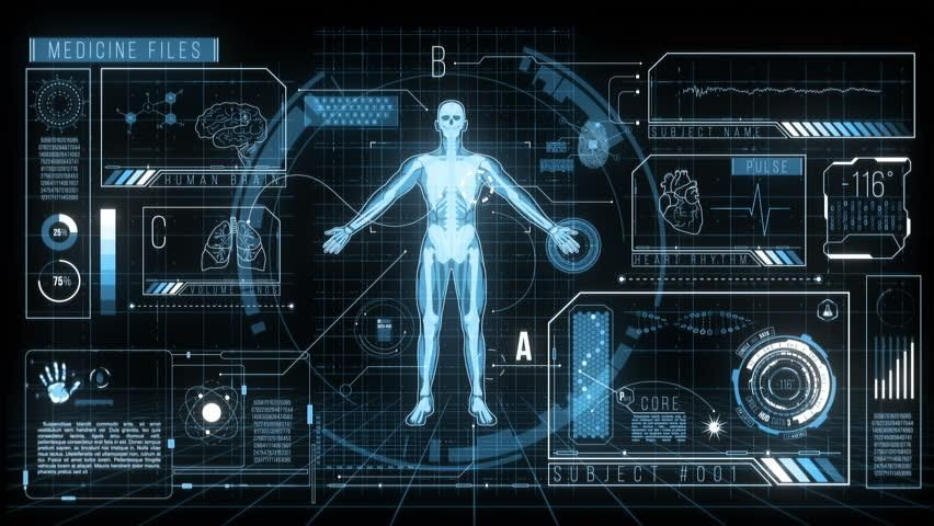 Ad: Futuristic HUD Medicine Screen Data, 4K