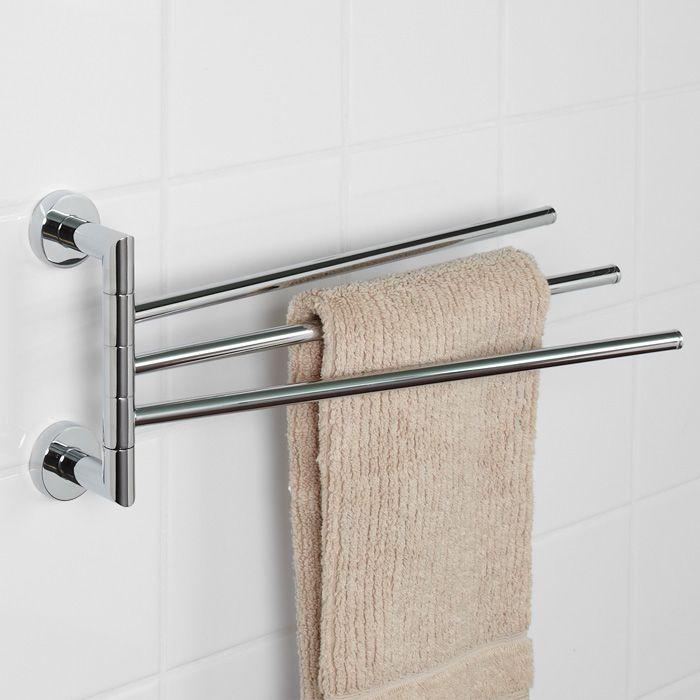 Space Saving Towel Bar Bristow Collection Triple Swing Arm Towel Bar Small Apartment Bathroom Signatu Towel Rack Bathroom Towel Rack Bath Towel Racks Swing arm towel bars