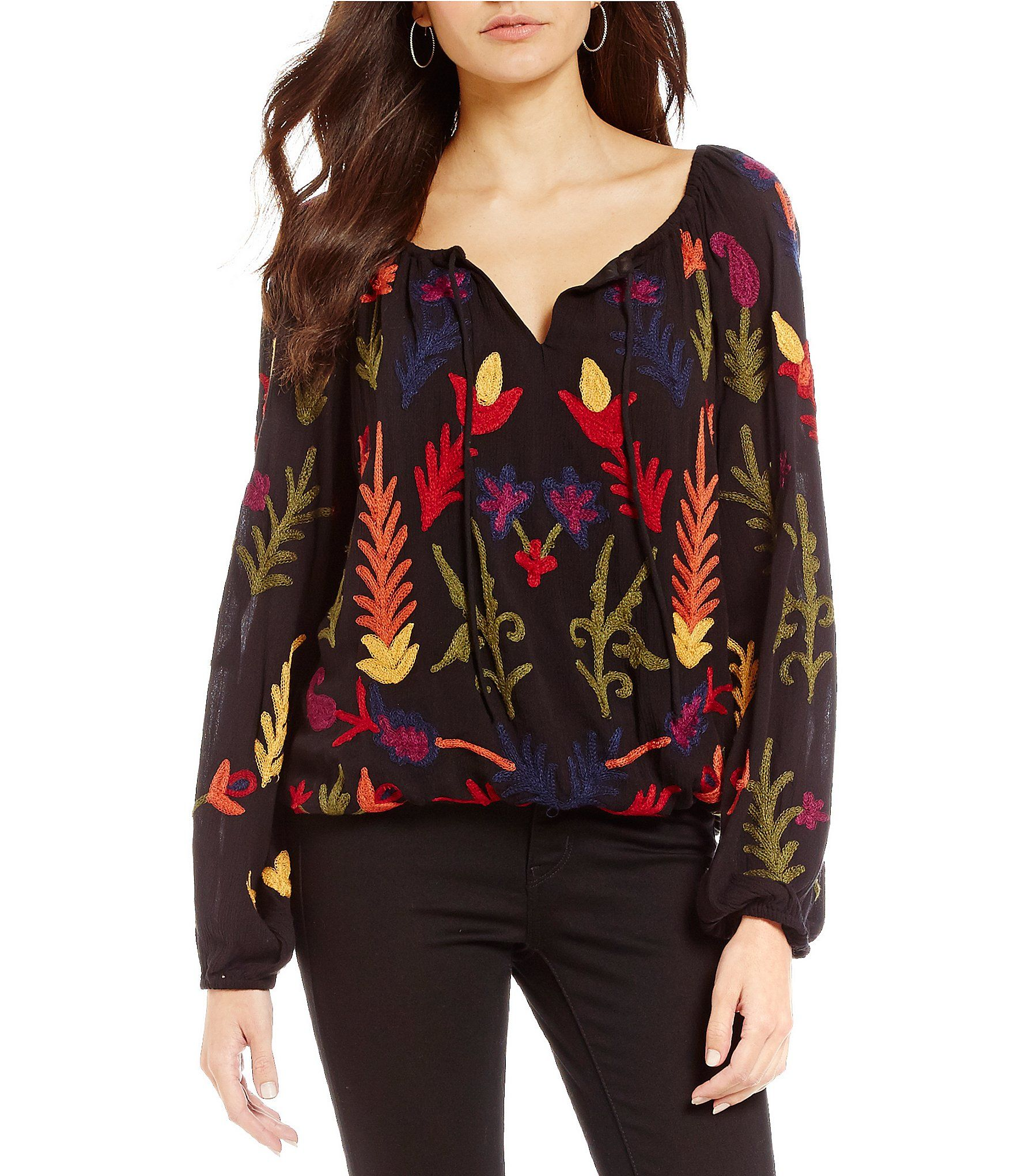 Shop for Chelsea & Theodore Embroidered Blouse at Dillards ...