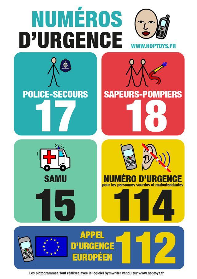 Fabuleux Connaître les numéros d'urgence | Urgences, Assistante maternelle  KL59