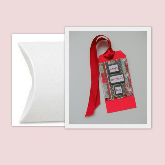 Valentine Tag with White Pillow Box and Red by CreativeDesigns, $3.00