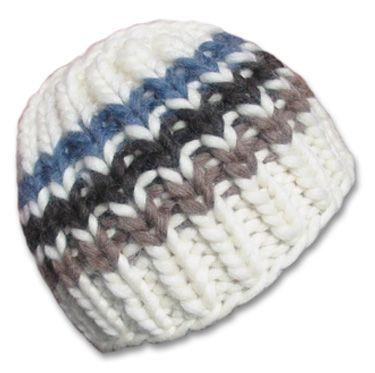 db5a0b3c700 KnitWhits - Knitting Patterns and Kits - Phoebe Chunky Striped Beanie - Snow