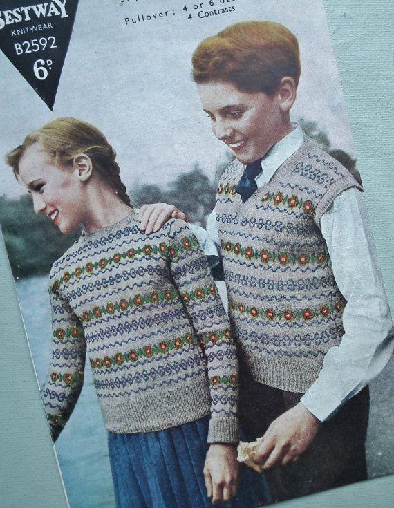 Vintage 1940s 1950s Knitting Pattern Childrens Fair Isle ...