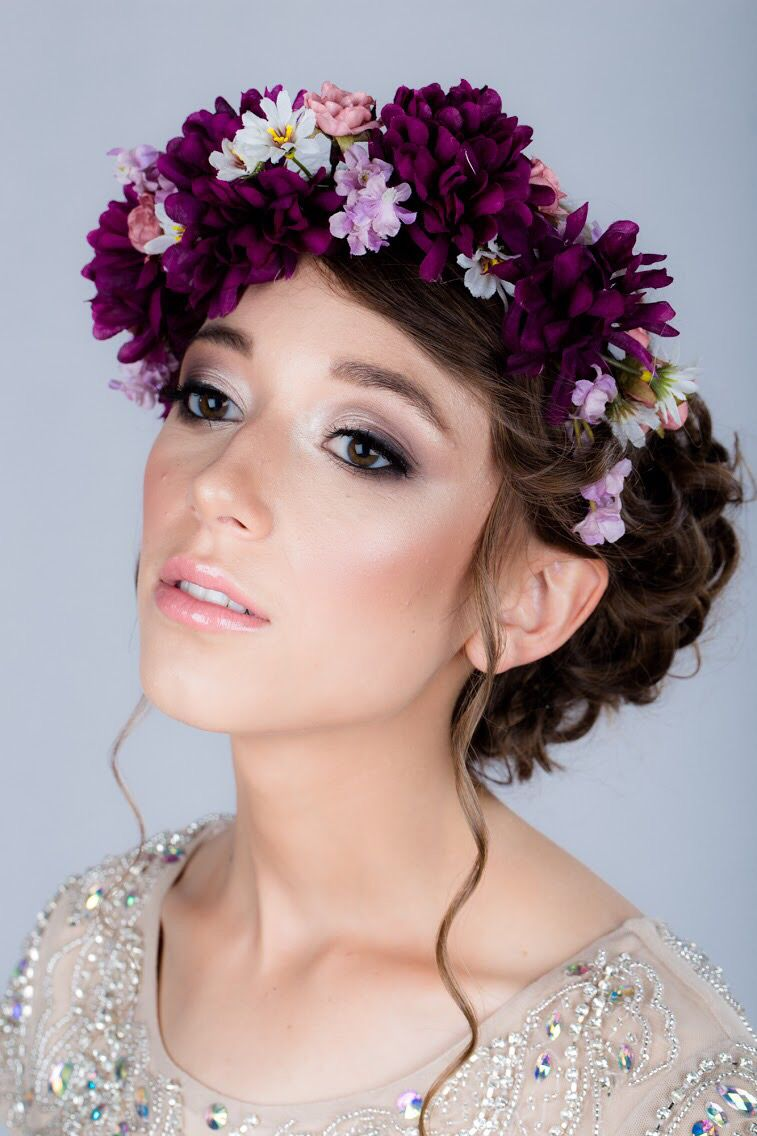 Formal hair and makeup Flower crown Prom makeup Prom hair