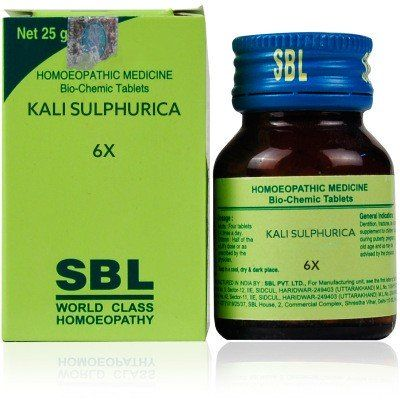 SBL Homeopathy Bio Chemics Kali Sulphuricum 6x - Catarrh with yellow