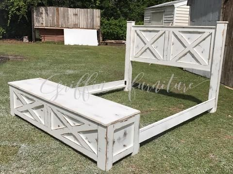 Wood Bed frame with storage bench for footboard in King ...