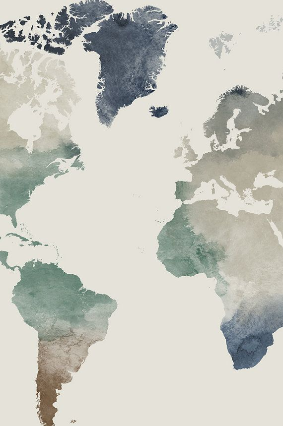 World map poster, Large world map, world map wall art, watercolor map of the world, Travel print, gift decor, home decor ArtPrintsVicky is part of Map wallpaper - This watercolor world map poster would look wonderful on any wall  You can personalize it via the 6 title options   ►If your choice is the Your Custom Title, dont forget to add your TITLE to the note to seller at checkout   ► Discover all my world map artworks at